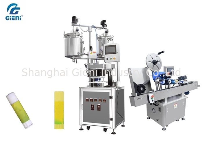 Twelve Nozzles Lip Balm Manufacturing Equipment With Automatic Labeller
