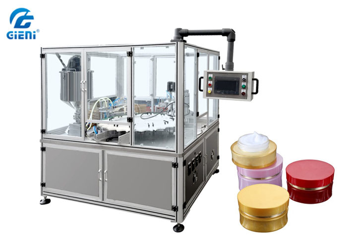 Automatic Cosmetic Cream Filling Machine 2 Nozzles High Stability